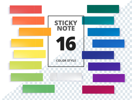 Post note sticker set isolated on transparent background. Paper sticky tape with shadow. Vector office color post note sticks for advertising design. Standard-Bild - 97370459