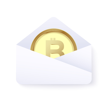 Bitcoin payment concept. sent money by cryptocurrency. vector illustration Standard-Bild - 97370461