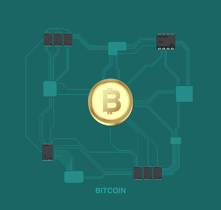 Bitcoin illustration with digital concept. cryptocurrency background Standard-Bild - 97370460