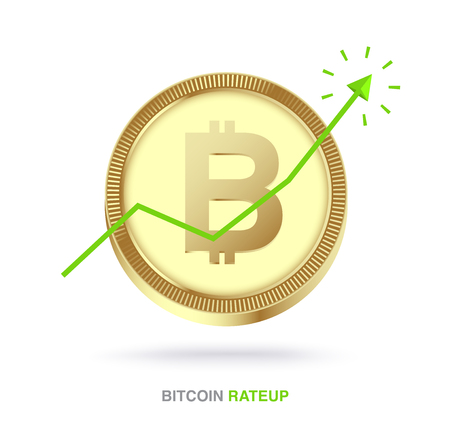 Bitcoin exchange rate up concept. vector illustration Ilustracja