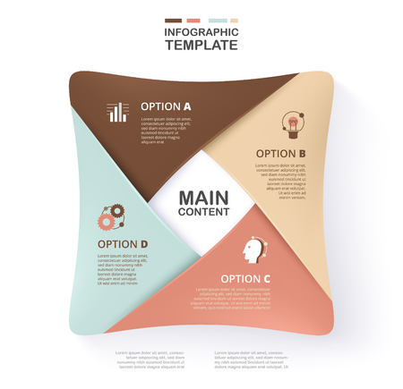 Infographic template for business presentation with soft color. Layered, 4 option sample content. Standard-Bild - 97370469