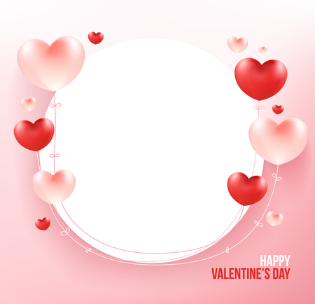Heart balloons on circle frame for add text. Love concept. Standard-Bild - 126001414