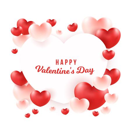 Happy Valentinstag Wort auf weißem Herzen. Gruppe Herzhintergrund.