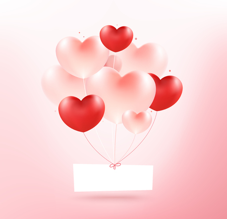 Big bunch heart balloons with white label. Love concept. Standard-Bild - 126001417