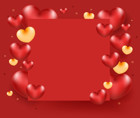 Group of heart on red paper. Love card concept. vector illustration Standard-Bild - 126001418