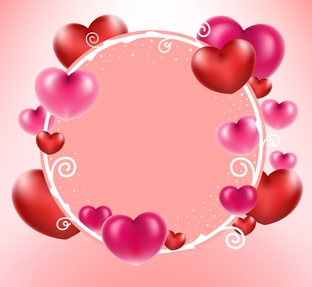 Heart balloons on circle frame for add text. Love concept. Standard-Bild - 126001420