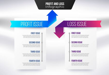 Profit and loss infographic template. Simple business presentation profit and loss issue. Ilustracja