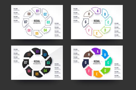 Circle infographics collection. 8 steps infographic circle with 4 style colors.