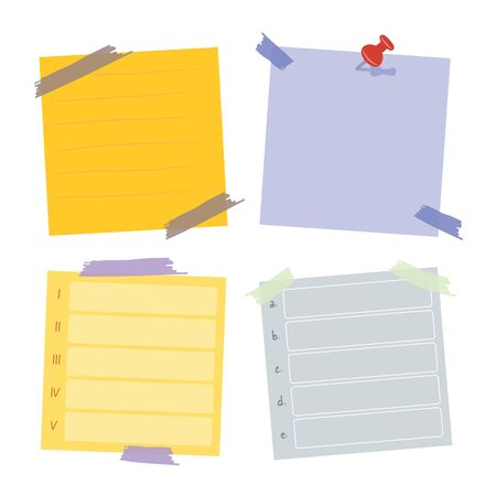 Sticky post note collection. for work memo, reminder for to do it. Office paper sticker collection.