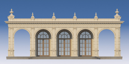 pilasters: arcade from a stone with ionic pilasters. 3d render Stock Photo