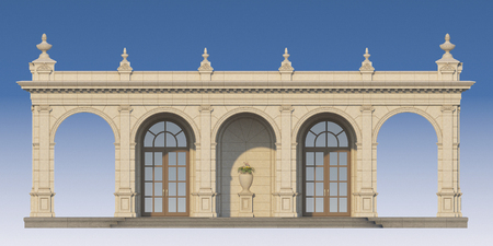 arcade from a stone with ionic pilasters. 3d render Stock Photo