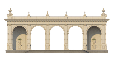 pilasters: arcade from a stone with ionic pilasters on a white background. 3d render Stock Photo