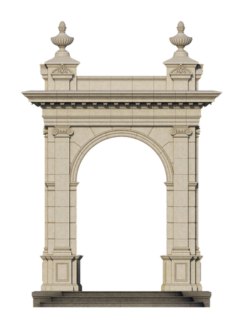 pilasters: arcade from a stone on a white background. 3d render