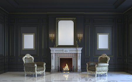 luxury house: A classic interior is in dark tones with fireplace. 3d rendering.