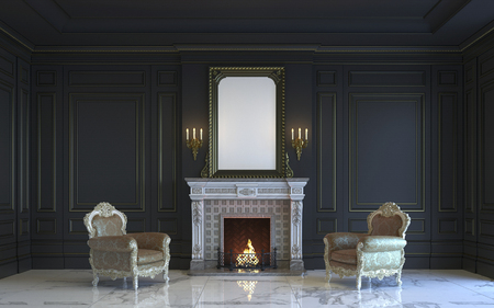 A classic interior is in dark tones with fireplace. 3d rendering.