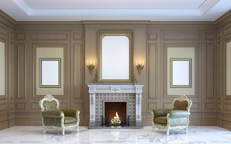 wood panel: A classic interior with wood paneling and fireplace. 3d render.