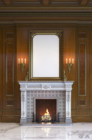 Fireplace on the background of a classic interior with wood paneling. 3d rendering.