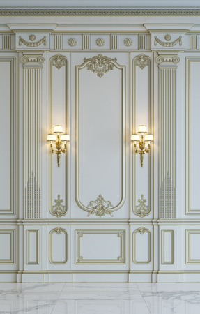 White wall panels in classical style with gilding. 3d rendering Stock Photo