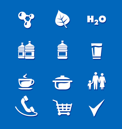 Icons food water  shopping vector white