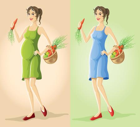 likable: figures of pregnant slender girl eating natural vegetarian food vector illustration