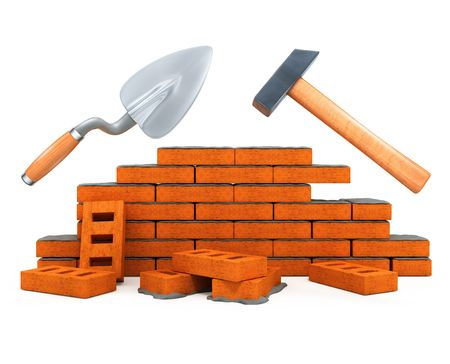 beginnings: darby and hammer building tools for house construction isolated over white background 3d illustration Stock Photo