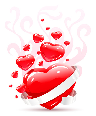 fillings: Valentines ornament with red love heart vector illustration