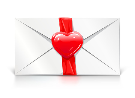 closed ribbon: Valentines day greeting letter with red love heart vector illustration