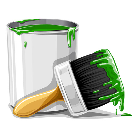 paints: vector brush with green paint and bucket isolated illustration Illustration