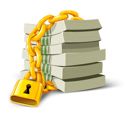 greenbacks: vector money with gold lock isolated illustration Illustration