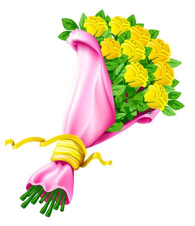 mazzo di fiori: bouquet vettore di fiori di rosa isolato su sfondo bianco Vettoriali