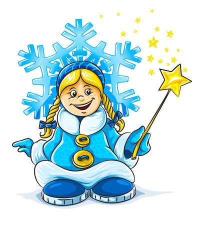 kısrak: vector illustration of magic snow maiden smiling girl