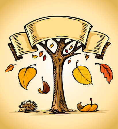 hedgehog: vector illustration of autumn tree with yellow falling leaves