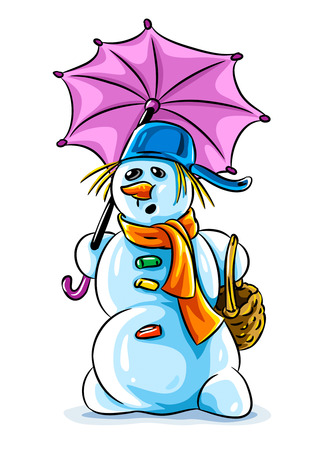 winter thaw: vector illustration of winter snowman with pink umbrella