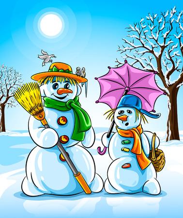thaw: vector illustration winter snowmen with broom pink umbrella