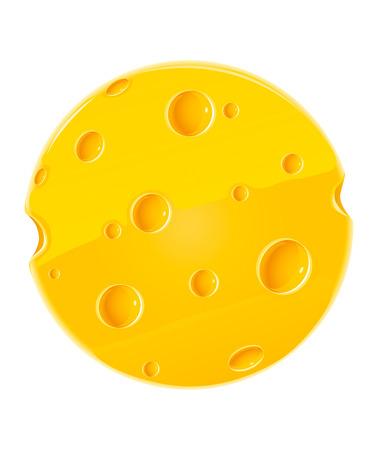 parmigiano: vettore di arrotondare il pezzo di formaggio isolato cibo su sfondo bianco Vettoriali