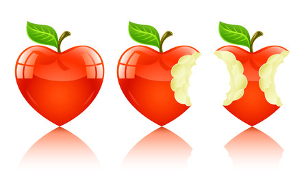 amorous: red apple in form of love heart Illustration