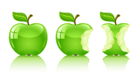 eatable: green nibbled apple with leaf