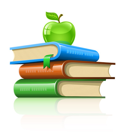 school test: pile book with green apple - illustration, isolated on white background