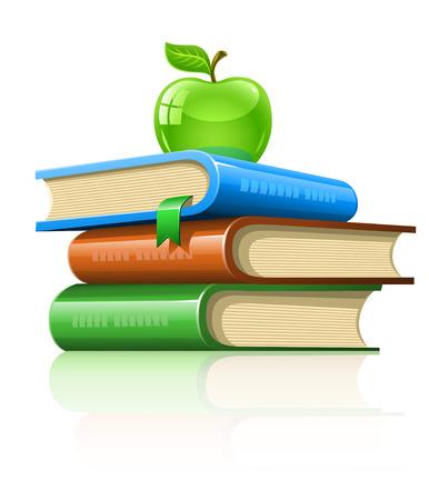 stapel papieren: stapel boek met groene appel - illustratie, geïsoleerd op witte achtergrond