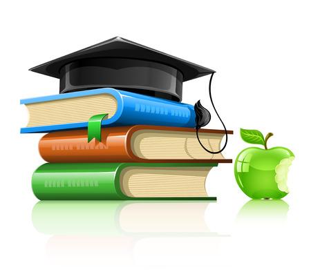stapel papieren: stapel schoolboeken met professor van cap en apple % uFFFD illustratie, geïsoleerd op witte achtergrond
