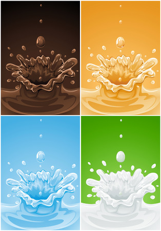 chocolat d�goulinant: ensemble de divers d�marrage boisson liquides ? vector illustration