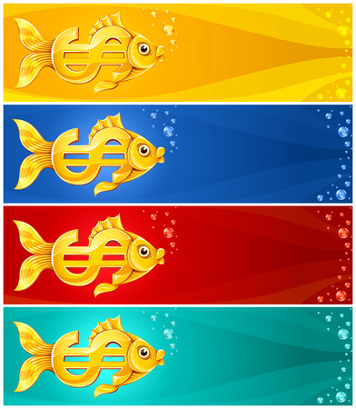 fish form: gold fish in form of dollar currency sign - illustration Illustration
