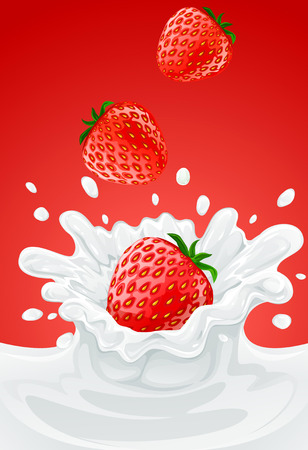 spilling: red strawberry fruits falling into the milky splash - vector illustration