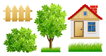 verdure: elements of green garden with house and fence - vector illustration, isolated on white background