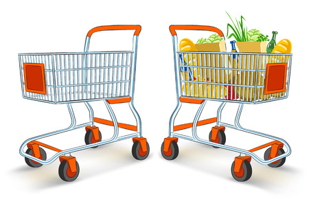full and empty shopping carts from supermarket store - vector illustration, isolated on white background