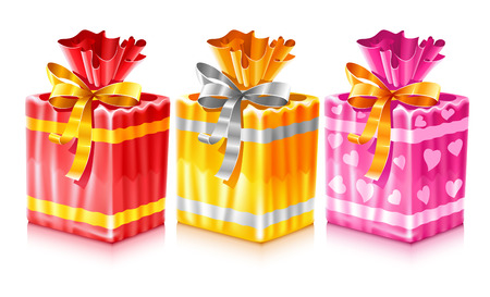 packaged: set of packaged holiday gifts with bow