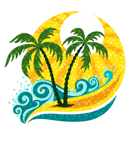 tropics: tropical palm in marine breaker and sunlight - vector illustration