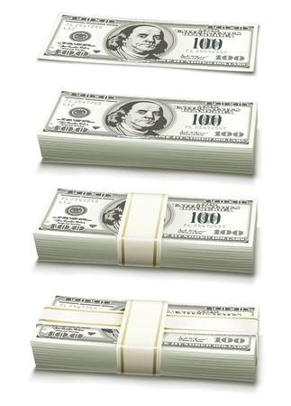 money packet: set of dollar bank notes packed money illustration isolated on white background