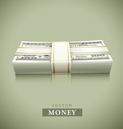packaged: packaged bundle of money dollars illustration