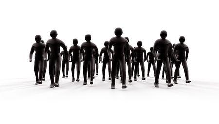 Gruppo di persone andando avanti con le ombre 3d